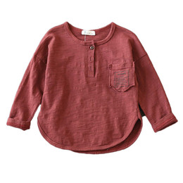 bamboo tees Australia - 2018 Spring and Autumn Children Boys T Shirt Long Sleeve Kids Tees Tops Loose Casual Bamboo Cotton Girls T shirts 3-11Y BC210MX190916