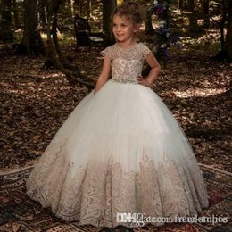 Green Ribbon Bows Australia - Lovely White Tulle Gold Lace Appliqued Little Girls Flower Girl Dresses 2019 Sheer Neck Corset Back With Ribbon Bow Girls Pageant Wear