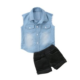 b4248d225 Sleeveless Boy T Shirts UK - Stylish Toddler Kids Baby Boys Sleeveless  Denim T Shirt Tops