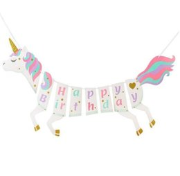 $enCountryForm.capitalKeyWord Australia - DHL Unicorn Paper flag Happy Birthday Banner Wedding horse flag Kids Children Baby Bunting Adult Favors Supplies Party Decorations nt