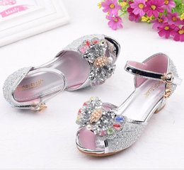 high heeled child shoe 2020 - Girls Sandals Butterfly Latin Dance Kids Shoes Children High Heel Princess Shoes Glitter Leather Party Dress Wedding che