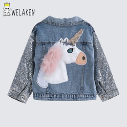 nylon outerwear Canada - welaken Children's Clothing Unicorn Denim Coat For Girl Jacket For Girls Outerwear & Coats Toddler Denim Girls Jackets CoatsMX190916