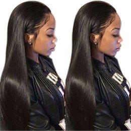 Sıcak satış uzun düz doğal görünümlü saç tutkalsız dantel ön dilek tam saç afrika amerikalılar woman14-28inch için dantel ... indirimde