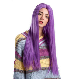 """Discount extra long cosplay wig - 30"""" Extra Long Straight Purple Synthetic Wig Cosplay Party Hand Tied Lace Front Wig Free Part Heat Resistant Fiber"""