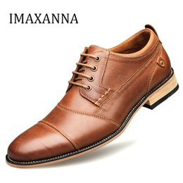 top business casual shoes NZ - IMAXANNA Men Leather Shoes Casual Top Quality Oxfords Men Genuine Leather Dress Shoes Business Formal Shoe Plus Size Wedding