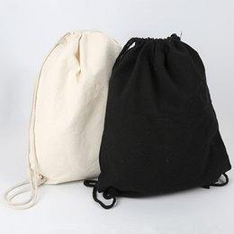canvas drawstring pouch NZ - ISKYBOB Canvas bag shoulders drawstring bundle pockets custom creative shopping student backpack bag cotton Pouch