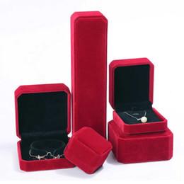Red Velvet Bracelet Display Australia - Red Velvet Wedding Earring Ring Necklace Bracelet Storage Box Gift Vintage Packing Box For Jewelry Display Storage Foldable Case