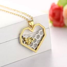 $enCountryForm.capitalKeyWord Australia - Wholesale- Chic Silver Gold Bee On The Honeycomb Necklaces & Pendants Hexagon Comb Hive Necklace For Women Jewelry You are My honey 2018