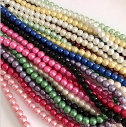 14mm loose pearls Canada - Wholesale Mixed Color Loose Glass Pearl Beads 4mm 6mm 8mm 10mm 12mm 14mm 16MM Round Glass Imitation Pearl Beads for Jewelry Making
