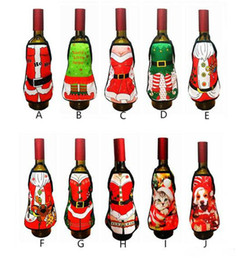 Pinafore Dresses NZ - Small Apron bottle Wine Cover Christmas Sexy Lady Xmas Dog Santa Pinafore red wine bottle wrapper Holiday Bottle clothes Dress