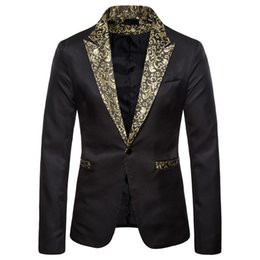 Discount glitter costumes - MJARTORIA Shiny Gold Sequin Glitter Embellished Blazer Jacket Men Nightclub Prom Suit Blazer Men Costume Homme Stage Clo