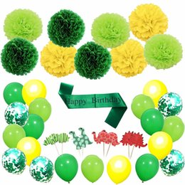 Theme Cupcakes Australia - 2019 HOT 55pc Dinosaur Forest Theme Happy Birthday Party Cupcake Toppers Ballon Tissue Flower Banner Decoration Party Set