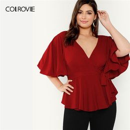 $enCountryForm.capitalKeyWord Australia - Colrovie Plus Size Red V Neck Flutter Sleeve Ruffle Surplice Wrap Knot Elegant Blouse Shirt Women 2019 Summer Office Ladies Tops SH190720
