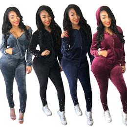 Wholesale women velvet sweatsuit resale online – Women hooded tracksuit Two Piece Outfits Pearl Velvet long sleeve zipper hoodies bodycon pants sweatsuit set Fall Winter clothes sweat suits