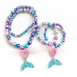 Wholesale Mermaid Necklace Gradient Beads Multicolored Beads Mermaid Tail Romantic Children s Necklace Bracelet Set Christmas Birthday Present