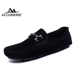 Discount boat shoes business casual - ALCUBIEREE Genuine Leather Men Loafers Fashion Slip On Driving Shoes Men Moccasin Boat Shoes Casual Business Gommino