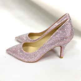 eb36af485 Дизайнер Красное дно женщины платье обувь стразы свадебные туфли  Сексуальная острым носом высокий каблук скольжения на шпильках насосы  основная обувь