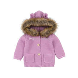 Sweater Coat Kids NZ - kids designer clothes boys girls Outwear infant faux fur Hooded Coat Spring Autumn Cardigan sweater fashion baby Clothing 2 colors C6849
