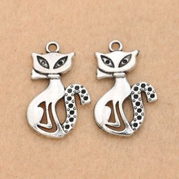 horn charms wholesale NZ - cat charms pendants 10pcs Antique Silver Plated Cat Charm Pendant Fit Making Bracelet Jewelry Findings Diy 25x16mm