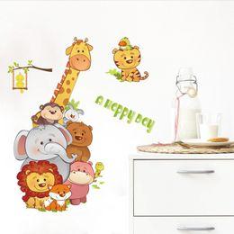 Cartoon Retail Australia - Retail 90*60cm animal cartoon wall stickers children's room head corner background decoration can be removed stickers