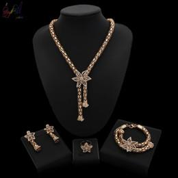 $enCountryForm.capitalKeyWord Australia - Yulaili New African Crystal Flower Pendant Necklace Earrings Ring for Women Nigeria Wedding Anniversary Gift Fashion Jewelry Sets