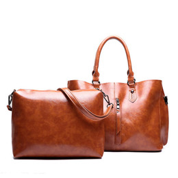 Top Ladies Handbags Australia - good quality Women 2 Pcs Top-handle Composite Bag Set Leather Casual Totes Messenger Bag Ladies Handbag For Girls Shoulder Bags Bolsas