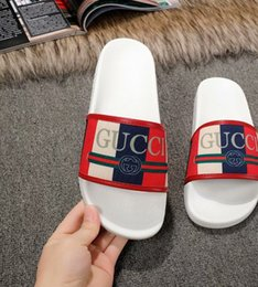 Wholesale 2019 new arrival mens and womens fashion White Logo Sylvie Slide sandals with rubber sole size euro