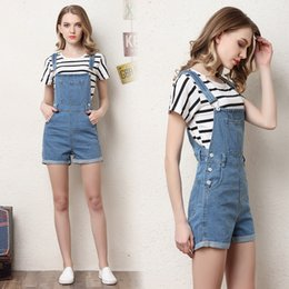 Women Washed Jumpsuit NZ - Short Denim Overalls Women Jumpsuit Romper High Waist Casual Fashion Jeans Playsuit Washed Blue Dungarees 2018 Summer Clothing Y19060501