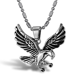 $enCountryForm.capitalKeyWord Australia - Soaring the Sky,Chase Freedom Eagle Flying High Stainless Steel Vintage Pendant Necklaces Cool True Men Designer Boys Necklace Accessories