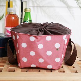 Picnic Ice Packs Australia - 5L portable lunch bag thermal picnic box with draw string ice pack meal drinks fruit fresh carrier cool bag for women cooler