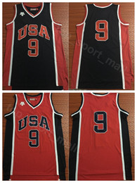 China US 1984 Basketball Jerseys 9 Michael Uniform Team Navy Blue Red Color MJ Jersey Men Breathable For Sport Fans Top Quality On Sale supplier men uniform for sale suppliers