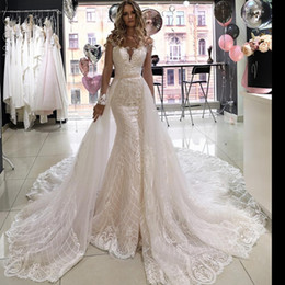 Lace high end skirt online shopping - Sheer Neck Long Sleeve Mermaid Wedding Dresses with Detachable Train High end Lace Applique Cathedral Train Princess Wedding Gown