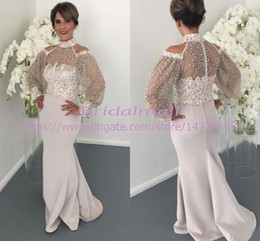 Vintage mother pearl online shopping - High Neck Arabic Mermaid Evening Dresses Sheer Long Sleeves Formal Dress Appliques Pearls Long Prom Dress Plus Size Groom Mother Gowns