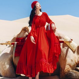best women dress night Australia - Best Quality Series# Ruffle Dress Red A Line Long Sleeve New Beach Maxi Party Wedding Guest Fashion Elegant Evening Women Dresses 1509