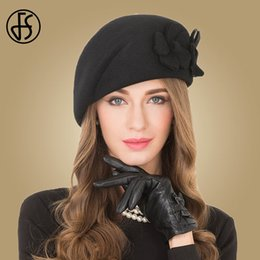 0d70102a68c FS Elegant Female 100% Wool Flower Black Fedora Hat England Style Vintage Winter  Women Felt French Beret Hats Bone Feminino D19011102