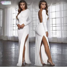 $enCountryForm.capitalKeyWord Australia - Women Backless Sexy Twill Side Long Party Dress Vestidos Long Sleeve High Bodycon Maxi Dress Elegant White Black Designer Clothes