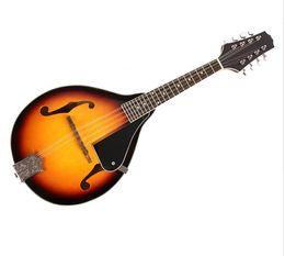 Venta al por mayor de Sunburst - Instrumento musical de mandolina de tilo de cuerdas con mandril de acero de palisandro Puente ajustable de cuerda