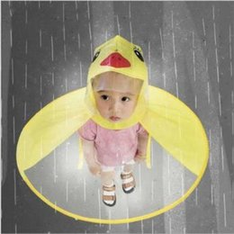 Wholesale Cute Kids UFO Raincoat Rain Cover Funny Yellow Duck Raincoat Umbrella Poncho Hands Free Rainwear Waterproof Rain Gear CCA11000