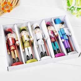 nutcracker gifts wholesale 2019 - 5pcs Creative Handmade Nutcracker Puppet Desktop Gifts Toy Decor Wood Christmas Ornaments Drawing Walnuts Soldiers Band