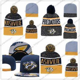 Navy hats online shopping - Men s Nashville Predators Ice Hockey Knit Beanie Embroidery Adjustable Hat Embroidered Snapback Caps Yellow White Navy Stitched Knit Hat