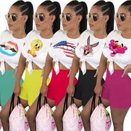 Wholesale t shirt girls street for sale – custom PINK Women Two Piece Outfits Cartoon Tracksuit Girl T Shirt Set Shorts Sleeve Piece Plus Size Sportswear Joggers Set Street Clothes