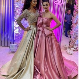 $enCountryForm.capitalKeyWord Australia - Evening dress Yousef aljasmi Labourjoisie Zuhair murad A-Line Strapless Sleeve Light Pink Elastic Satin Bow SweepTrain Long Dress James_paul