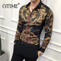 c70db05bb6a3145 Gtime Dropshipping Роскошный Золотой Черная Рубашка Мужчины 2019 Новый Slim  Fit С Длинным Рукавом Сорочка Homme Социальные Мужчины Клуб Пром Рубашка  ZS36