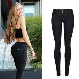 Washed Black Stretch Skinny Jeans Australia - High Street Push Up black Denim Pants Mujer Low Waist Skinny Pencil Pants Femme Fashion Super Stretch Slim Soft Comfort Jeans