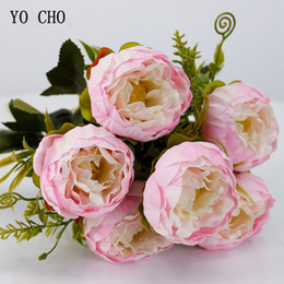 $enCountryForm.capitalKeyWord NZ - YO CHO Roses Peonies Fake Pink Silk White Peony Bouquet Wedding Party Decorations Artificial Flowers YO CHO Artificial Flowers