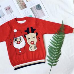 2018 Crianças Bebê Camisola de Natal Elk Vermelho De Malha Do Bebê Meninas  Blusas Crianças Pulôver Ocasional Roupa Dos Meninos 1-6 Anos S8I12 d5c6f475253b