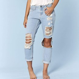 Jeans big hole knee online shopping - Street Distressed Ripped Boyfriend Jeans For Women Broken Big Knee Hole Destroyed Jeans Female Hip Hop Hollow Out Denim Pants