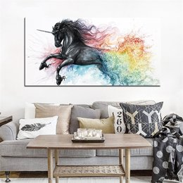 Draw cartoons paint online shopping - Unicorn Painting Inkjet Printing Home Decor Decorate Fine Horse Drawing Core Mural Posters Fashion With High Quality No Frame yf J1