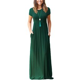ladies casual floor length dresses Canada - Summer Spring Women Maxi Dress Pocket floor length Solid Long Short Sleeve Dress Ladies Fashion Casual Dress Women 2020 CLD1063 MX200518