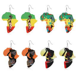 $enCountryForm.capitalKeyWord Australia - Creative Wooden African Maps Paint Femal Portraits Earrings Colorful Printed Graffiti Arts Irregular Eardrop Ear Hooked Wood Earrings Gift